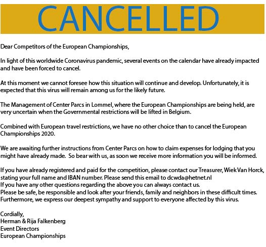 EUROPEAN CHAMPIONSHIPS 2020 CANCELLED